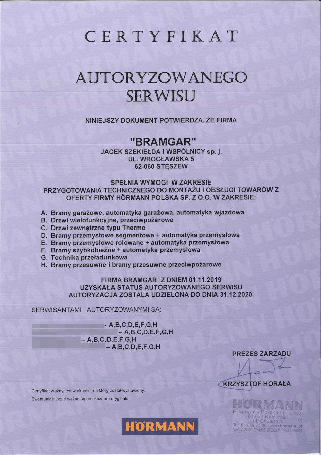 certyfikat serwisowy Hormann